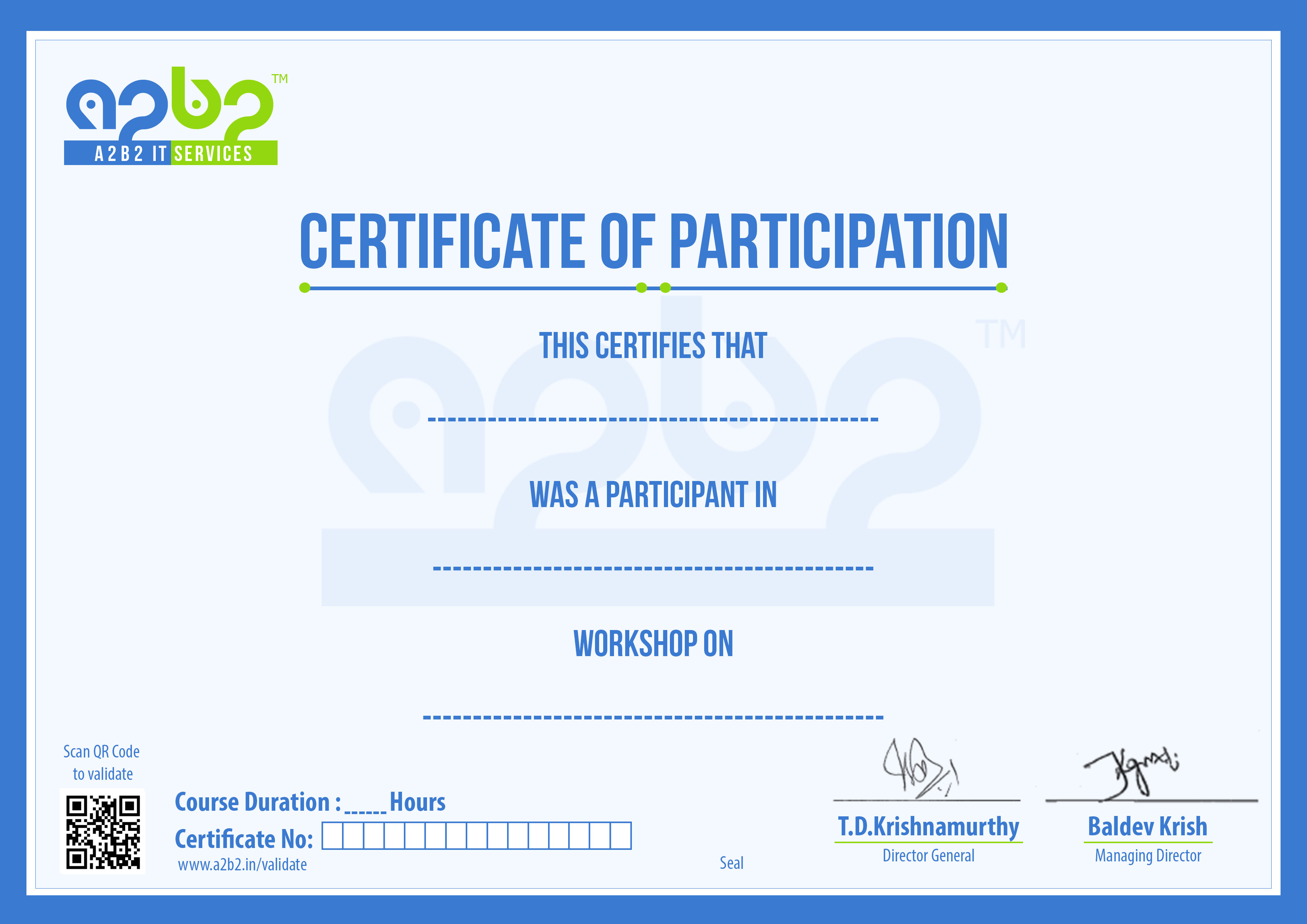 workshop certificate of participation